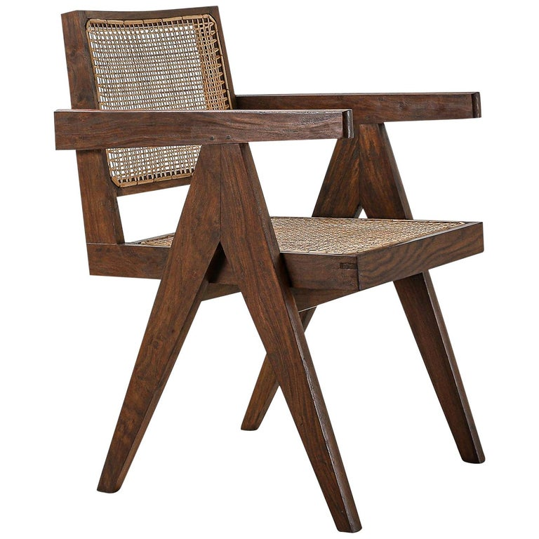 Set of 6 Pierre Jeanneret Office Chair, Variant, circa 1953-1954 For Sale