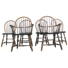 Set of 6 Pine Hoop Back Windsor Ethan Allen Style Chairs