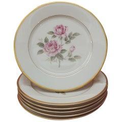 Set of '6' Pink Roses Porcelain Dessert Plates