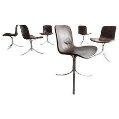 """Set of 6 """"PK-9"""" Chairs in Black by Poul Kjaerholm, Denmark, 1961"""