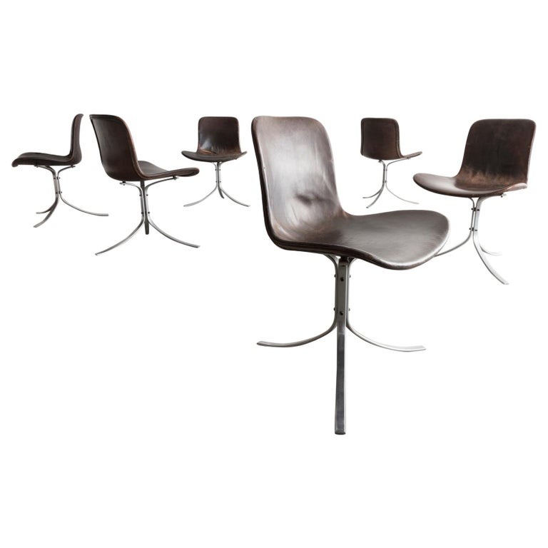 "Set of 6 ""PK-9"" Chairs in Black by Poul Kjaerholm, Denmark, 1961 For Sale"