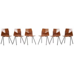 Set of 6 Plywood Dining Chairs by René Jean Caillette for Steiner, France, 1958