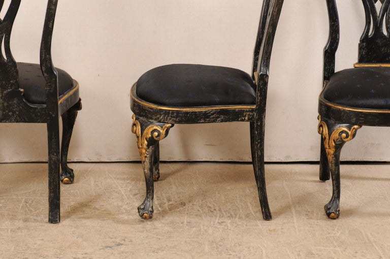 Set of 6 Portuguese Style Dining Side Chairs For Sale 4