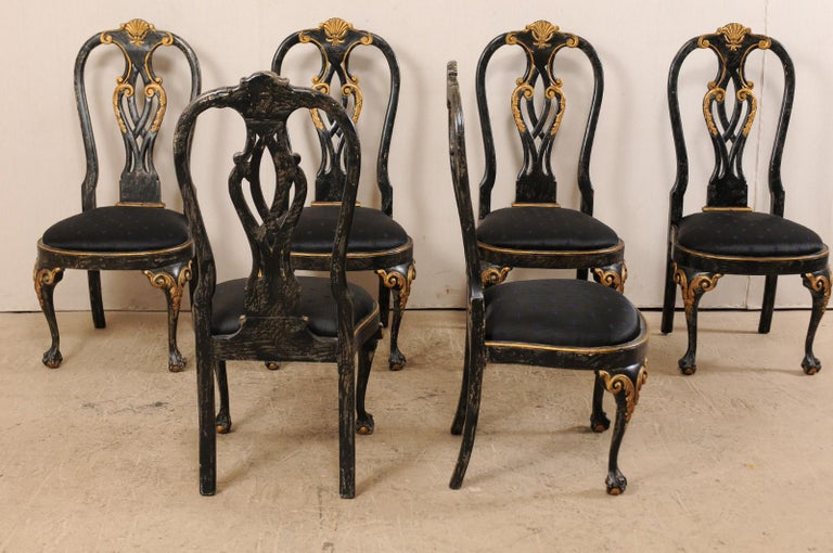 American Set of 6 Portuguese Style Dining Side Chairs For Sale