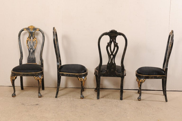 Carved Set of 6 Portuguese Style Dining Side Chairs For Sale