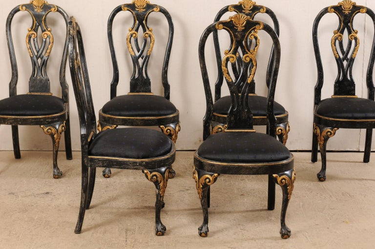 20th Century Set of 6 Portuguese Style Dining Side Chairs For Sale