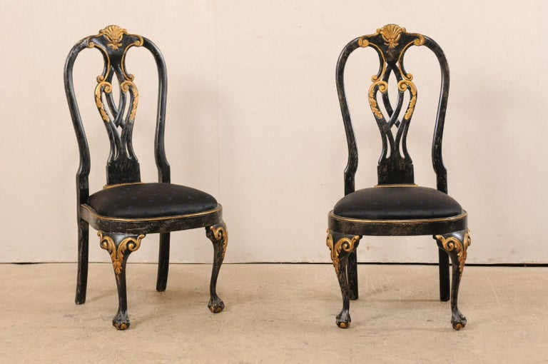 Upholstery Set of 6 Portuguese Style Dining Side Chairs For Sale