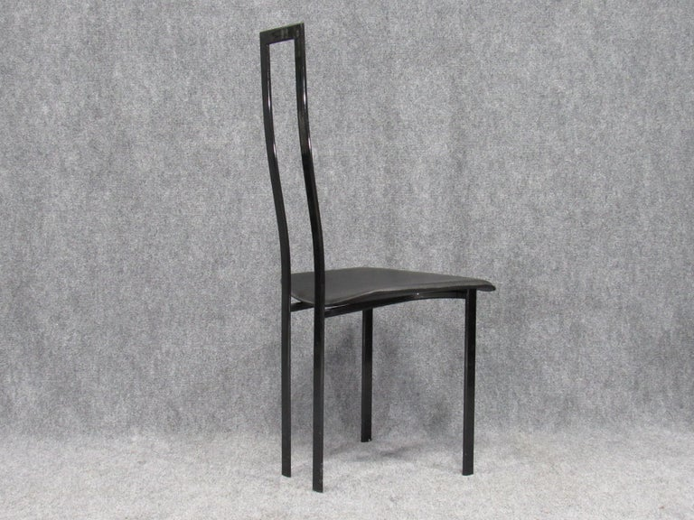 Set of 6 Postmodern Black Metal and Leather Dining Chairs by Cattelan Italia For Sale 6