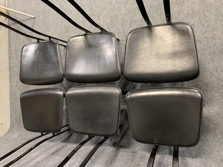 Set of 6 Postmodern Black Metal and Leather Dining Chairs by Cattelan Italia For Sale 8