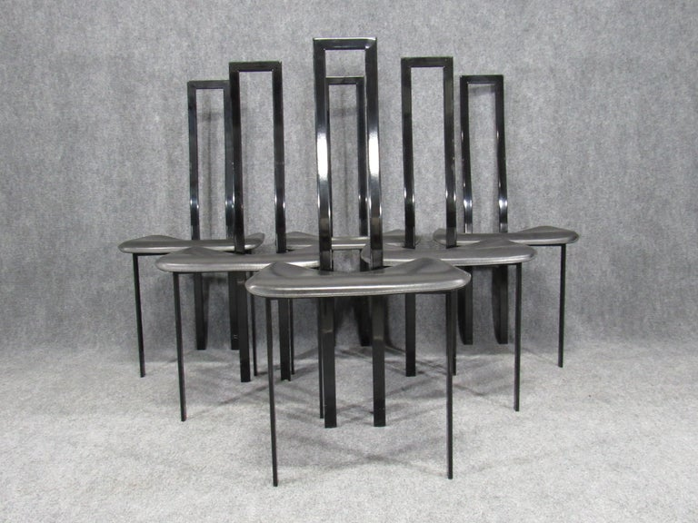 Italian Set of 6 Postmodern Black Metal and Leather Dining Chairs by Cattelan Italia For Sale