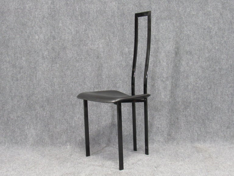 Set of 6 Postmodern Black Metal and Leather Dining Chairs by Cattelan Italia For Sale 3