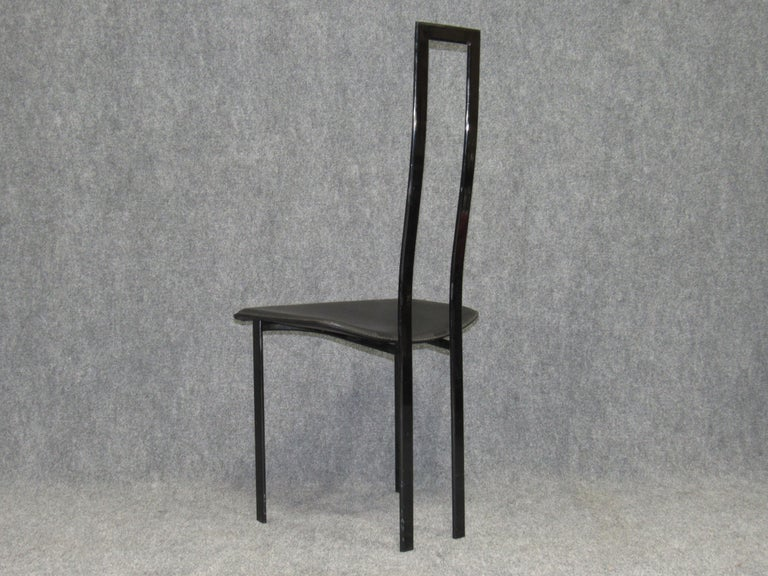 Set of 6 Postmodern Black Metal and Leather Dining Chairs by Cattelan Italia For Sale 4