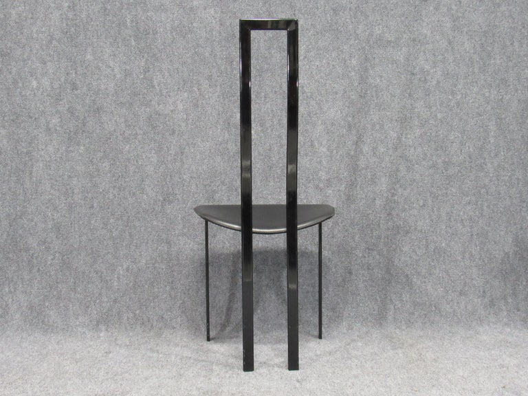 Set of 6 Postmodern Black Metal and Leather Dining Chairs by Cattelan Italia For Sale 5