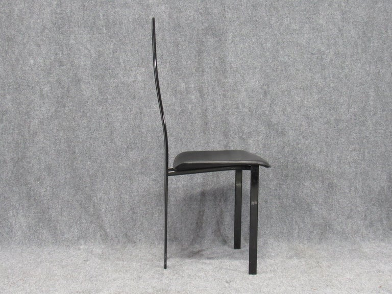 Set of 6 Postmodern Black Metal and Leather Dining Chairs by Cattelan Italia For Sale 7