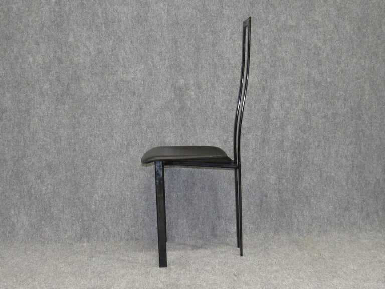 Post-Modern Set of 6 Postmodern Black Metal and Leather Dining Chairs by Cattelan Italia For Sale