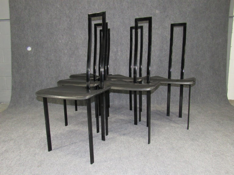 Set of 6 Postmodern Black Metal and Leather Dining Chairs by Cattelan Italia In Good Condition For Sale In Belmont, MA