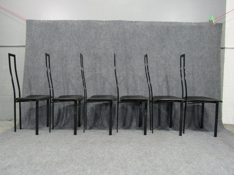 Set of 6 Postmodern Black Metal and Leather Dining Chairs by Cattelan Italia For Sale 2