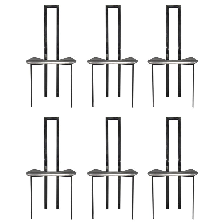 Set of 6 Postmodern Black Metal and Leather Dining Chairs by Cattelan Italia For Sale