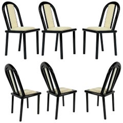 Set of 6 Postmodern Italian Black Lacquered Dining Chairs from Maurice Villency