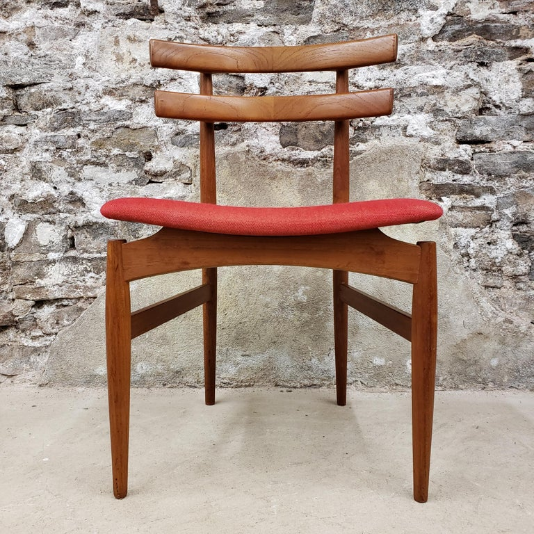 Set of 6 model 30 Danish teak dining chairs designed by Poul Hundevad. We love the design of these chairs! They have such unique lines with stylish curves and tapers at every turn and bend.  Scandinavian Modern / Mid-Century Modern.