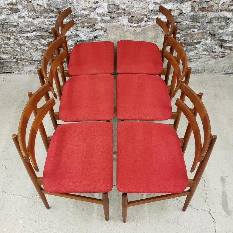 Set of 6 Poul Hundevad Model 30 Danish Teak Dining Chairs For Sale 2