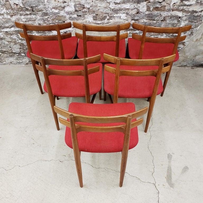 Set of 6 Poul Hundevad Model 30 Danish Teak Dining Chairs For Sale 3