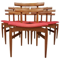 Set of 6 Poul Hundevad Model 30 Danish Teak Dining Chairs