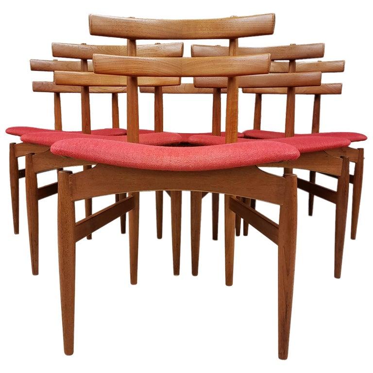 Set of 6 Poul Hundevad Model 30 Danish Teak Dining Chairs For Sale