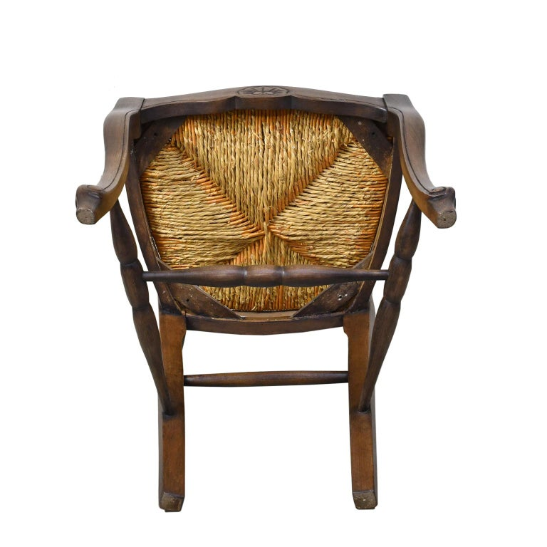 Set of 6 Provincial French Ladder Back Chairs, in Walnut Finish, circa 1900-1920 For Sale 3