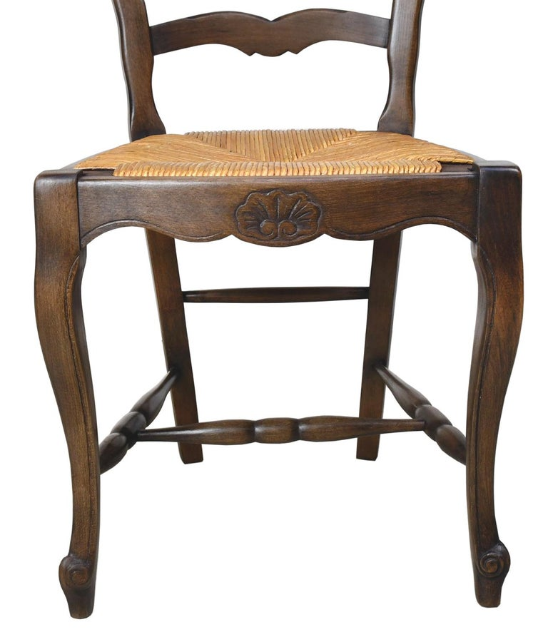 Set of 6 Provincial French Ladder Back Chairs, in Walnut Finish, circa 1900-1920 For Sale 7