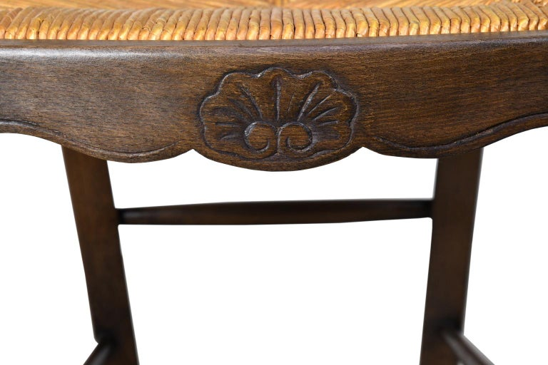 Set of 6 Provincial French Ladder Back Chairs, in Walnut Finish, circa 1900-1920 For Sale 8