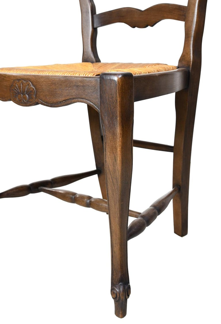 Set of 6 Provincial French Ladder Back Chairs, in Walnut Finish, circa 1900-1920 For Sale 9