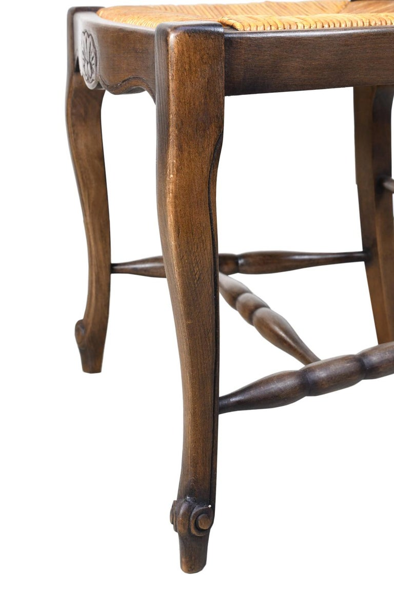 Set of 6 Provincial French Ladder Back Chairs, in Walnut Finish, circa 1900-1920 For Sale 10
