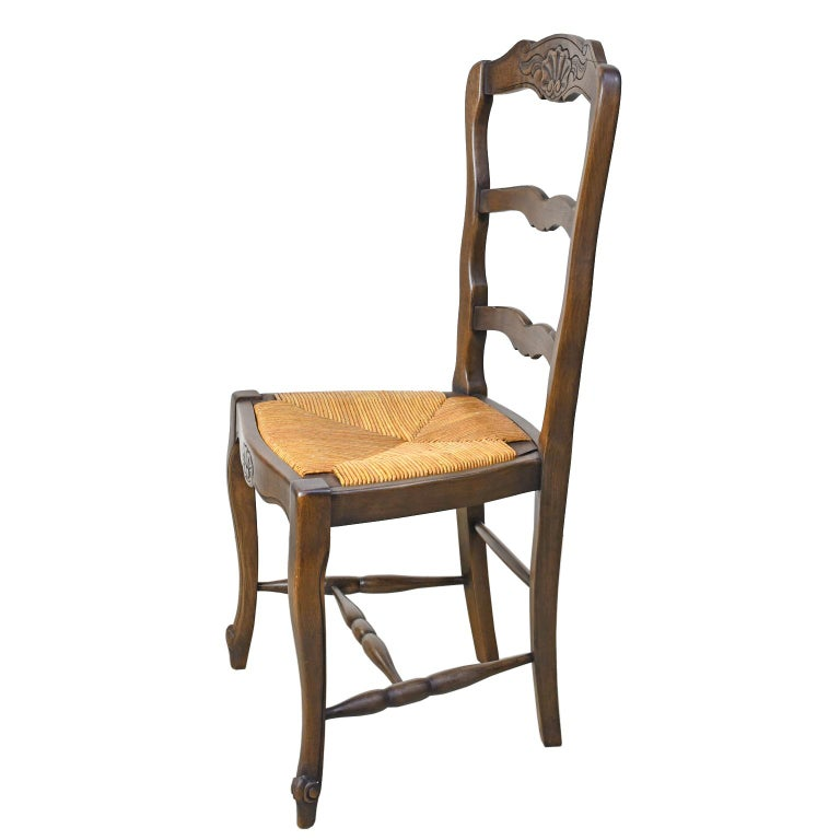 Woven Set of 6 Provincial French Ladder Back Chairs, in Walnut Finish, circa 1900-1920 For Sale
