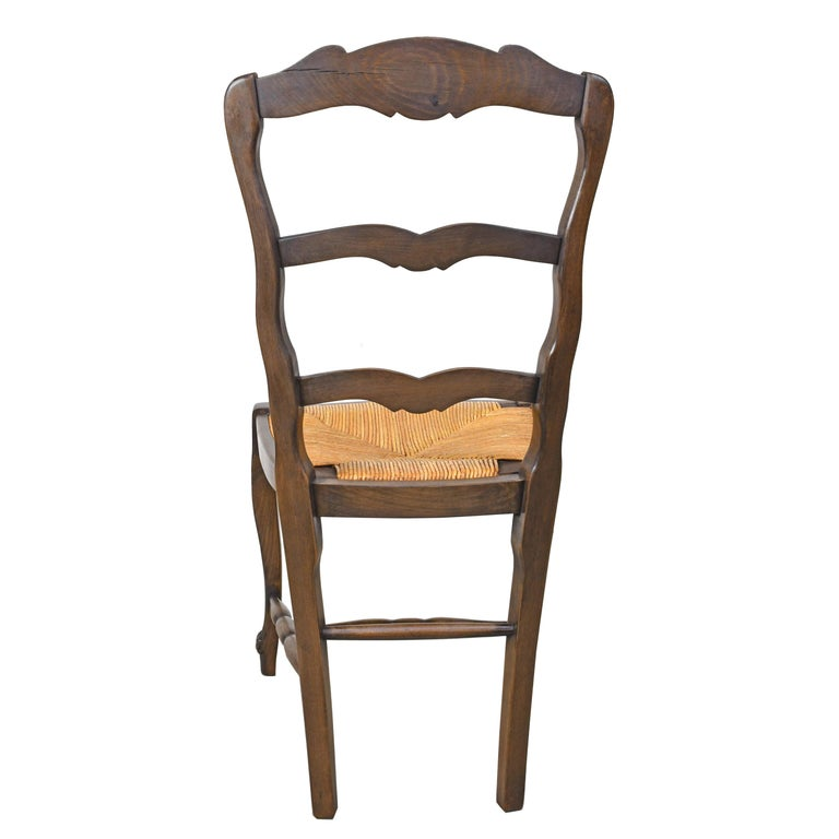Rush Set of 6 Provincial French Ladder Back Chairs, in Walnut Finish, circa 1900-1920 For Sale