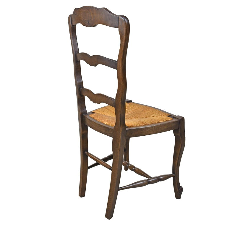Set of 6 Provincial French Ladder Back Chairs, in Walnut Finish, circa 1900-1920 For Sale 1