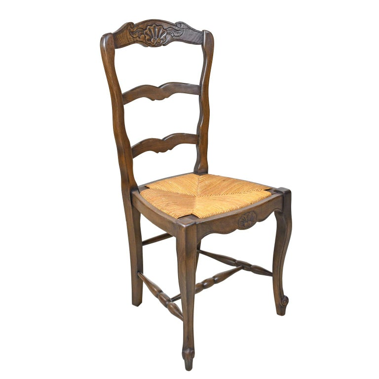 Set of 6 Provincial French Ladder Back Chairs, in Walnut Finish, circa 1900-1920 For Sale 2