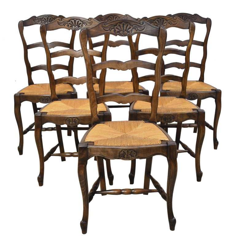 Set of 6 Provincial French Ladder Back Chairs, in Walnut Finish, circa 1900-1920 For Sale