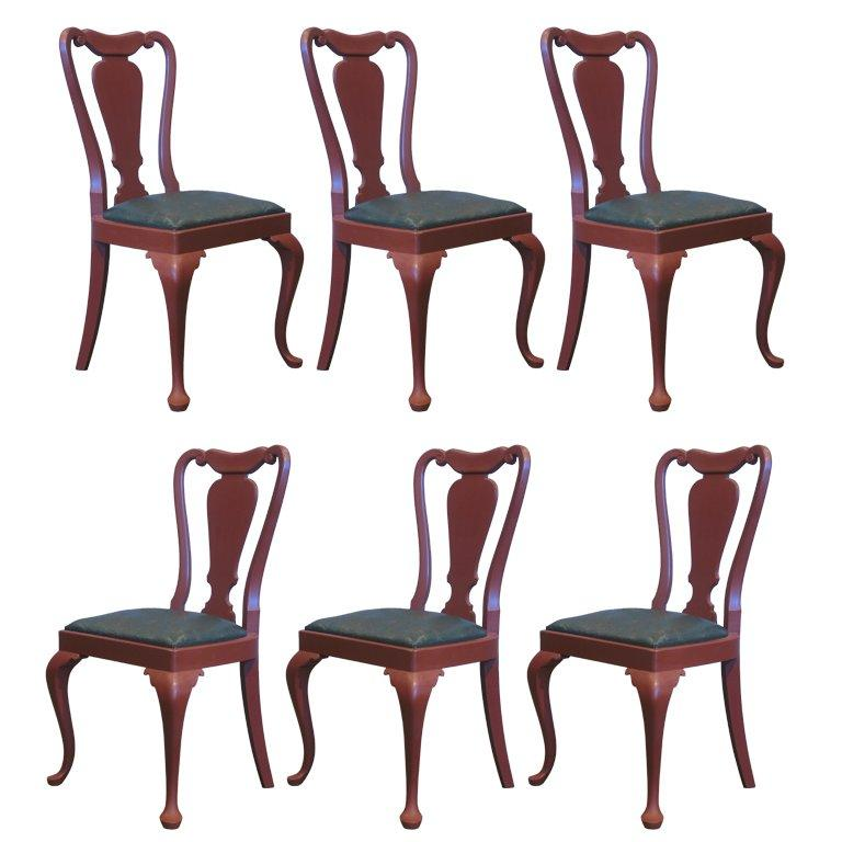 Set of 6 Queen Anne Style Chairs For Sale