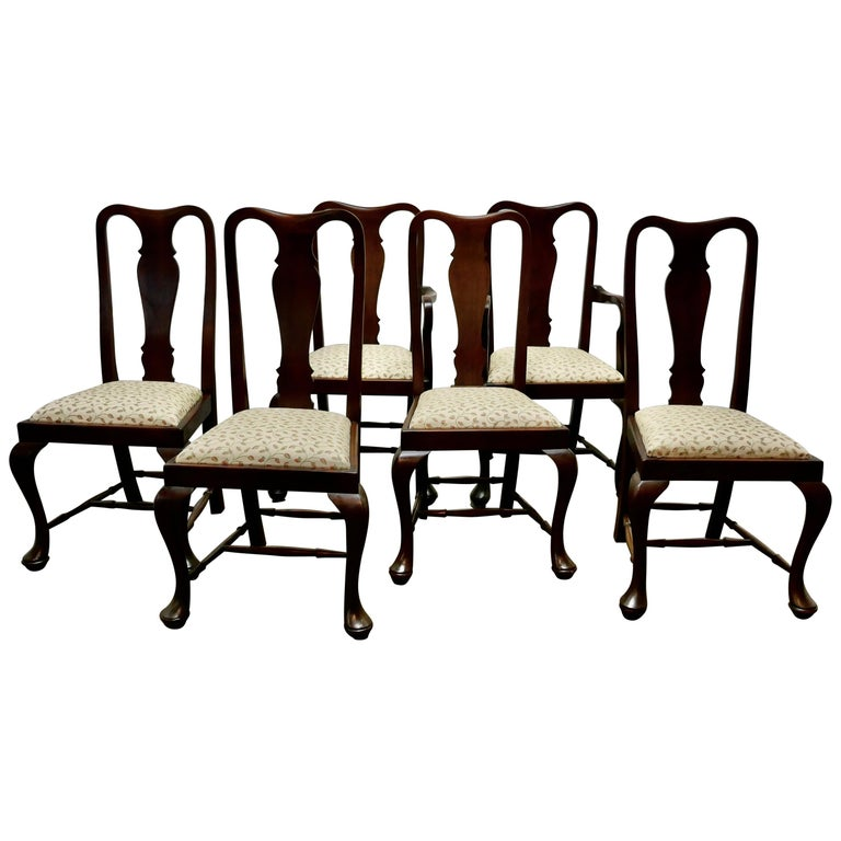 Set of 6 Queen Anne Style Mahogany Dining Chairs For Sale