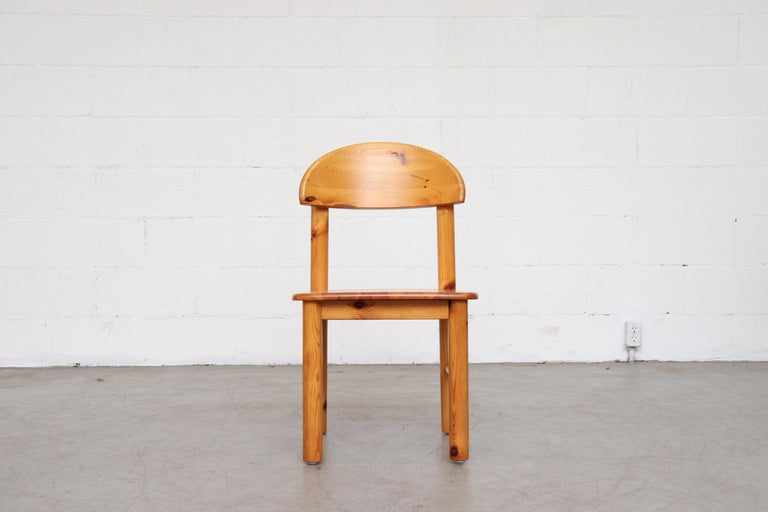 Mid-Century Modern Set of 6 Rainer Daumiller Style Pine Dining Chairs For Sale