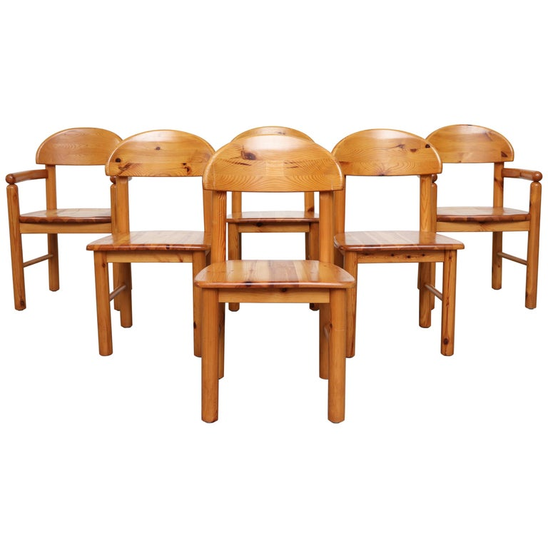 Set Of 6 Rainer Daumiller Style Pine Dining Chairs For