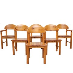 Set of 6 Rainer Daumiller Style Pine Dining Chairs