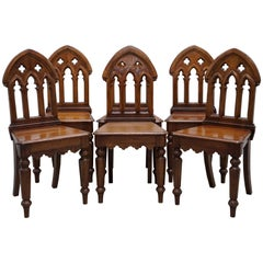 Set of 6 Rare Steeple Back Victorian Dining Chairs in the Pugin Gothic Manner