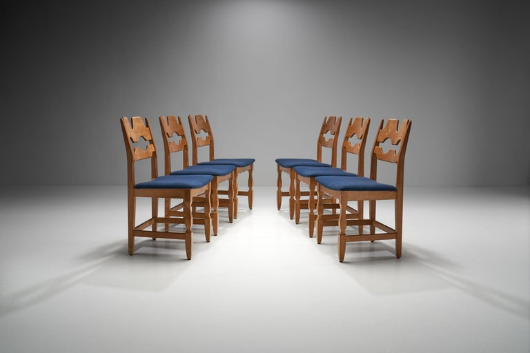 Scandinavian Modern Set of 6 Razorblade Dining Chairs by Henning Kjaernulf, Denmark, 1960s For Sale
