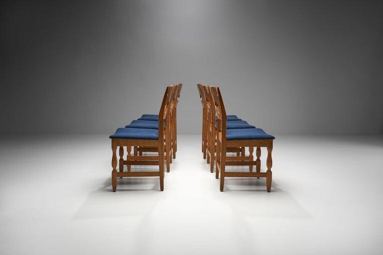 Danish Set of 6 Razorblade Dining Chairs by Henning Kjaernulf, Denmark, 1960s For Sale