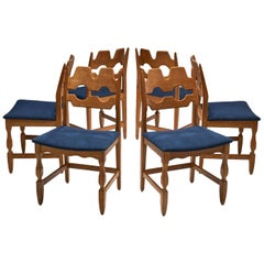 Set of 6 Razorblade Dining Chairs by Henning Kjaernulf, Denmark, 1960s