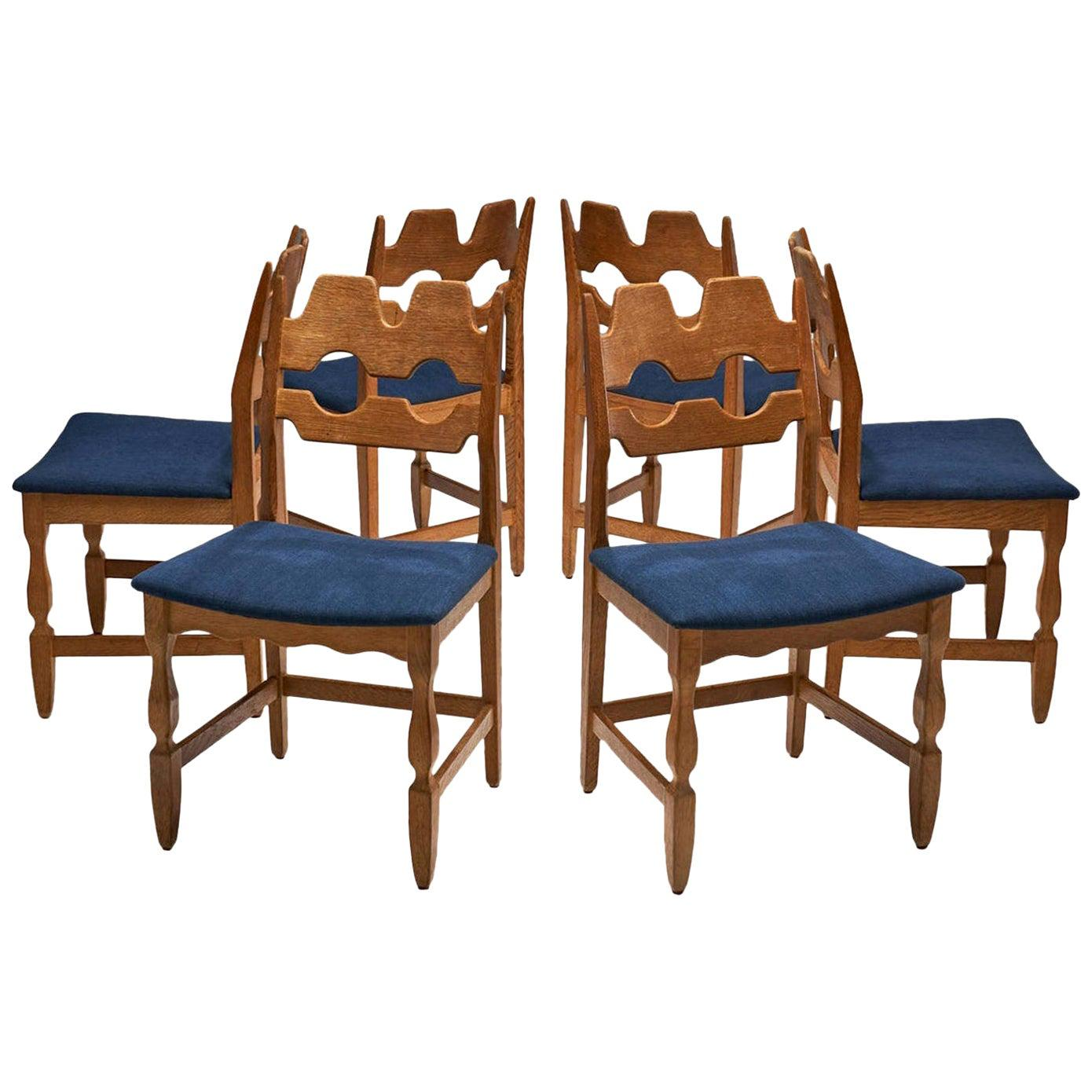 Set of 6 Razorblade Dining Chairs by Henning Kjaernulf, Denmark, 1960s