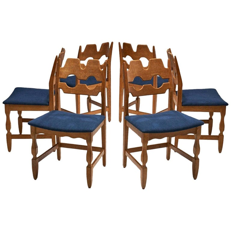 Set of 6 Razorblade Dining Chairs by Henning Kjaernulf, Denmark, 1960s For Sale