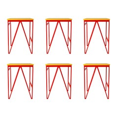 Set of 6 Red and Yellow Color Play Steel Stools